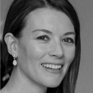 Black and white image of producer Justine Waddell